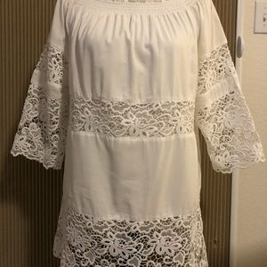 White Lace Eyelet Beach Cover or Dress